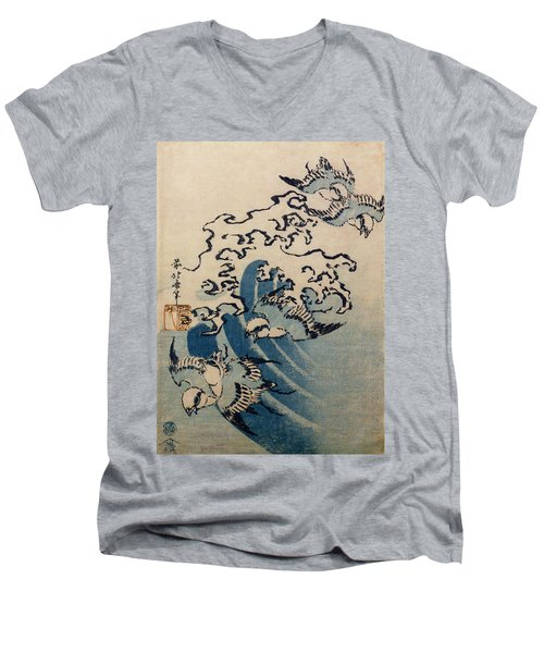 Waves And Birds Men's V-Neck T-Shirt by Katsushika Hokusai