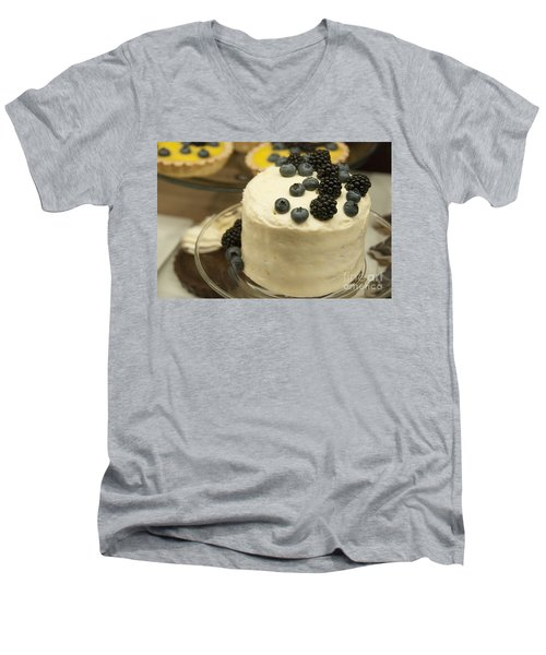 White Frosted Cake With Berries Men's V-Neck T-Shirt by Juli Scalzi