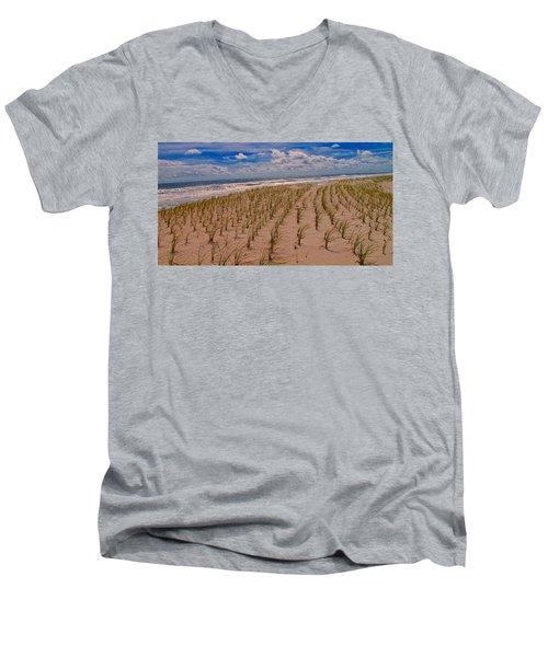 Wildwood Beach Breezes  Men's V-Neck T-Shirt by David Dehner