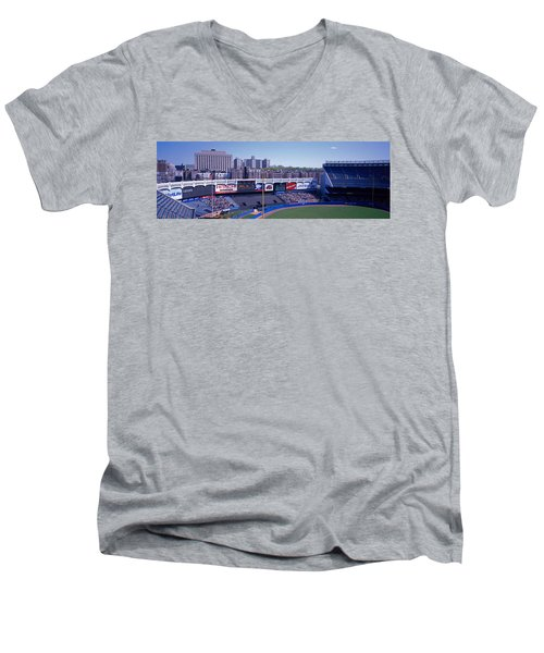 Yankee Stadium Ny Usa Men's V-Neck T-Shirt by Panoramic Images