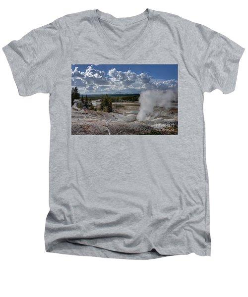 Men's V-Neck T-Shirt featuring the photograph Yellowstone's Norris Geyser Basin by Bill Gabbert