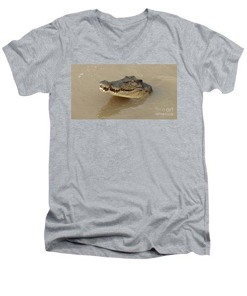 Salt Water Crocodile 3 Men's V-Neck T-Shirt by Bob Christopher