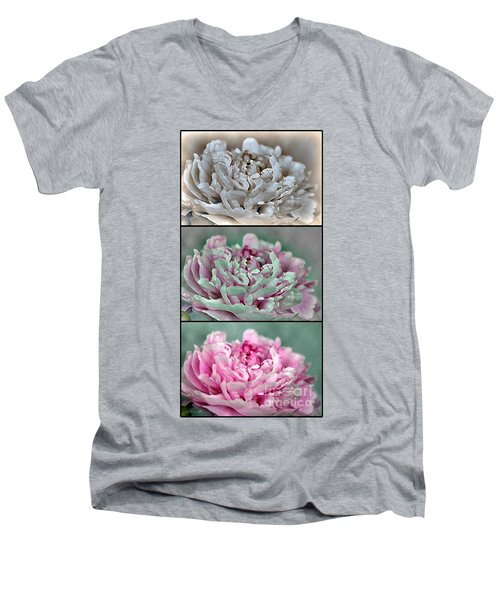 Peony Named Shirley Temple Men's V-Neck T-Shirt by J McCombie