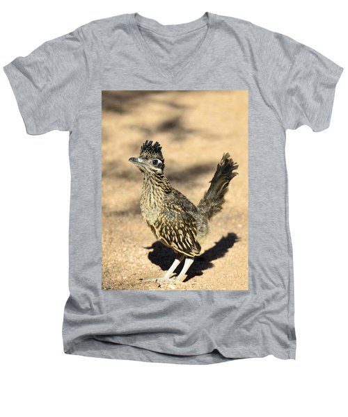 A Baby Roadrunner  Men's V-Neck T-Shirt by Saija  Lehtonen