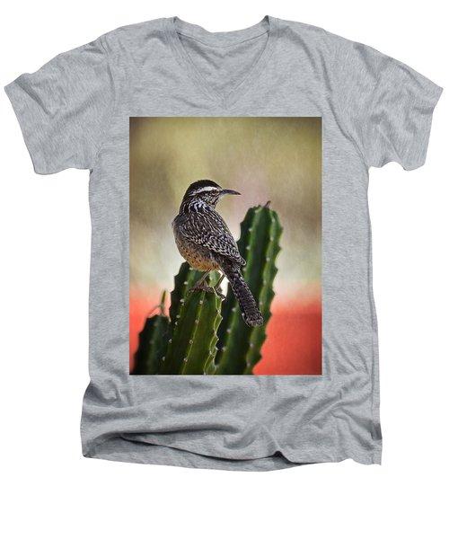 A Cactus Wren  Men's V-Neck T-Shirt by Saija  Lehtonen