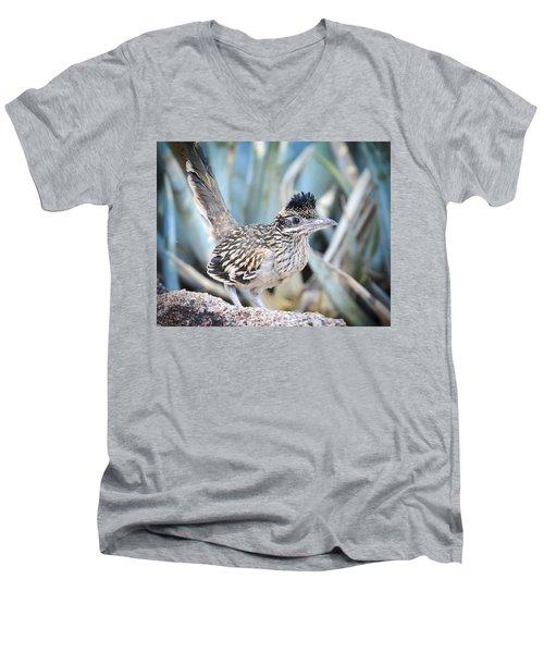 A Juvenile Greater Roadrunner  Men's V-Neck T-Shirt by Saija  Lehtonen