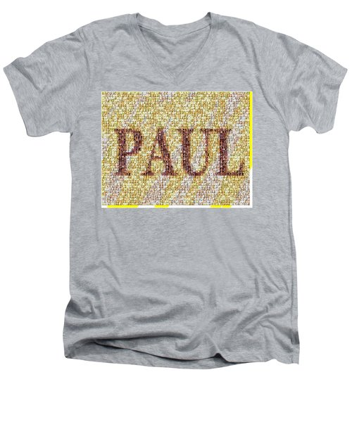 Custom Paul Mosaic Taylor Swift Men's V-Neck T-Shirt by Paul Van Scott