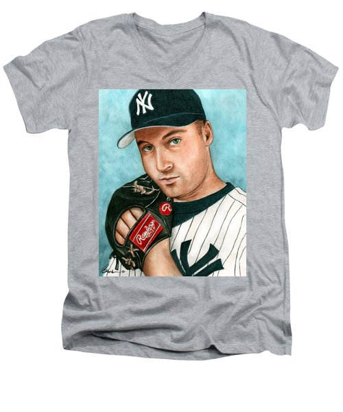 Derek Jeter  Men's V-Neck T-Shirt by Bruce Lennon