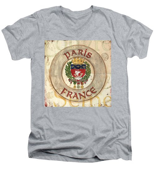 French Coat Of Arms Men's V-Neck T-Shirt by Debbie DeWitt