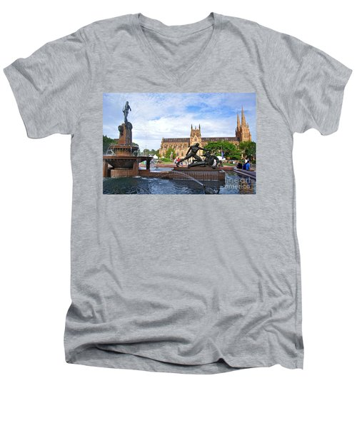 Hyde Park Fountain And St. Mary's Cathedral Men's V-Neck T-Shirt by Kaye Menner