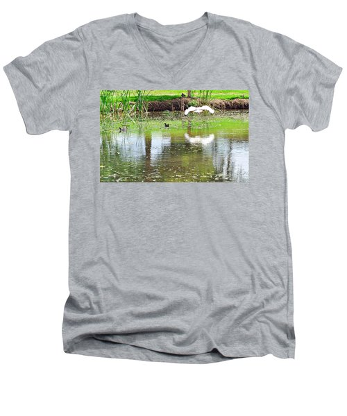 Ibis Over His Reflection Men's V-Neck T-Shirt by Kaye Menner