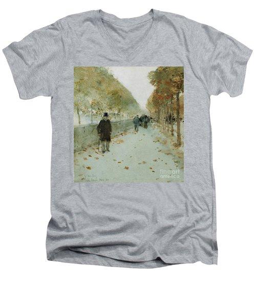 Quai Du Louvre Men's V-Neck T-Shirt by Childe Hassam