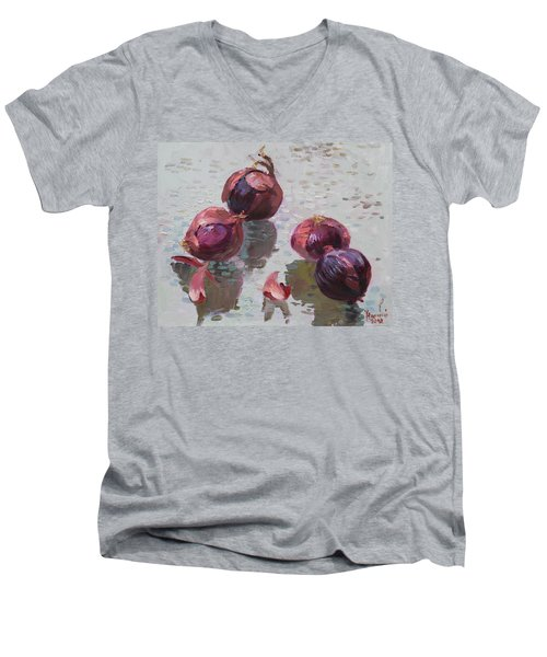 Red Onions Men's V-Neck T-Shirt by Ylli Haruni