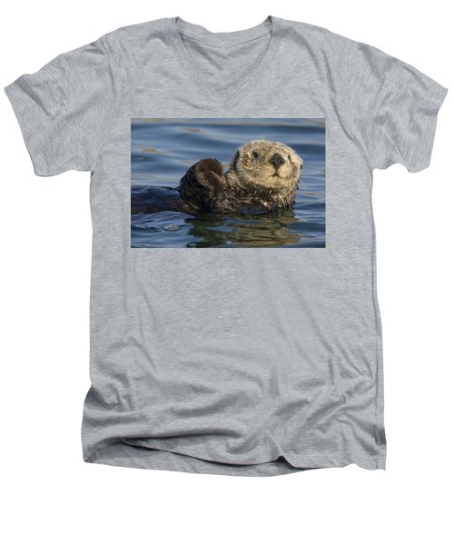 Sea Otter Monterey Bay California Men's V-Neck T-Shirt by Suzi Eszterhas