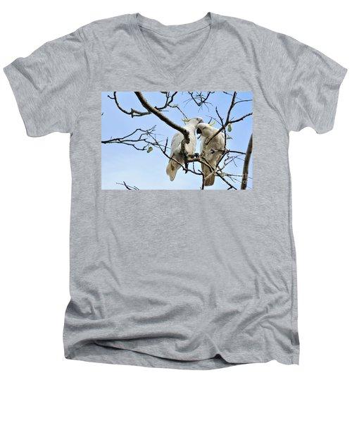Sulphur Crested Cockatoos Men's V-Neck T-Shirt by Kaye Menner