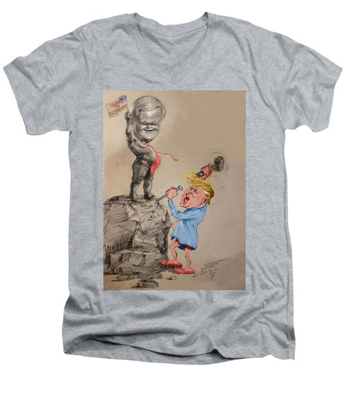 Trump Shaping Up The Future Men's V-Neck T-Shirt by Ylli Haruni