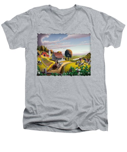 Appalachian Blackberry Patch Rustic Country Farm Folk Art Landscape - Rural Americana - Peaceful Men's V-Neck T-Shirt by Walt Curlee