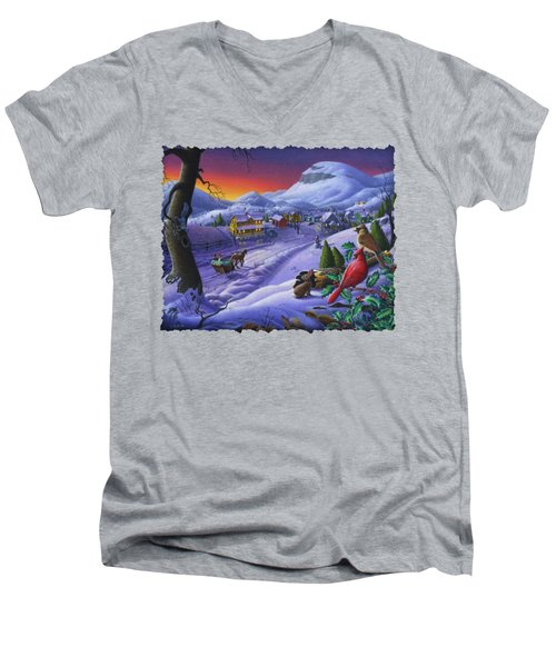 Christmas Sleigh Ride Winter Landscape Oil Painting - Cardinals Country Farm - Small Town Folk Art Men's V-Neck T-Shirt by Walt Curlee
