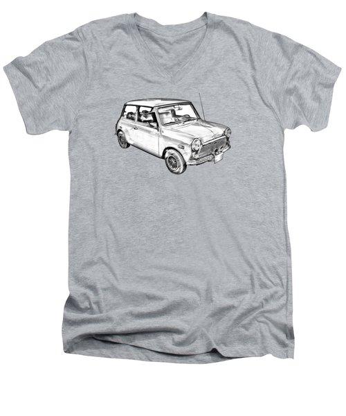Mini Cooper Illustration Men's V-Neck T-Shirt by Keith Webber Jr