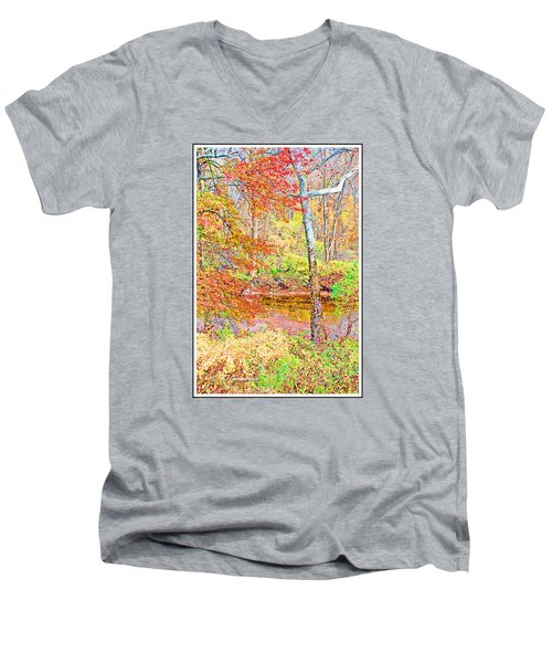 Men's V-Neck T-Shirt featuring the photograph  Woods In Autumn Montgomery Cty Pennsylvania by A Gurmankin