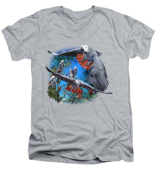 African Grey Parrots Men's V-Neck T-Shirt by Owen Bell