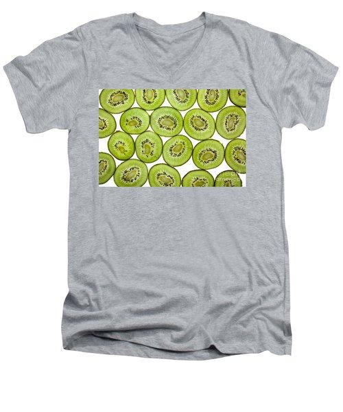 Kiwifruit Men's V-Neck T-Shirt by Nailia Schwarz