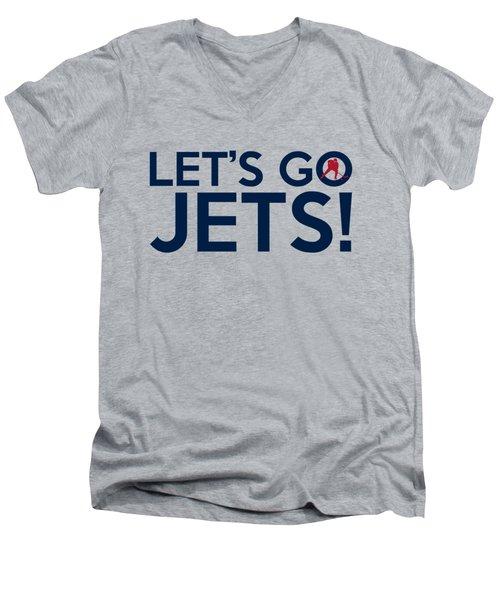 Let's Go Jets Men's V-Neck T-Shirt by Florian Rodarte