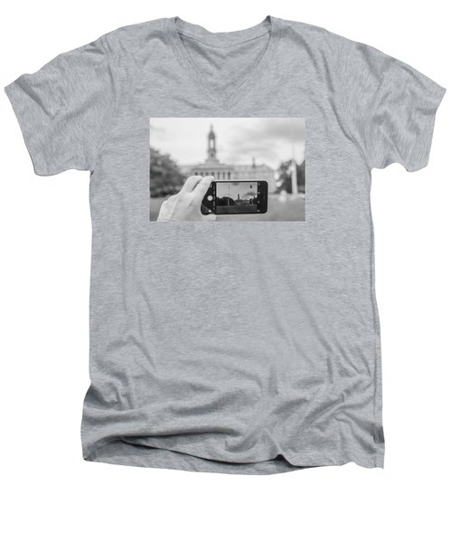 Old Main Penn State  Men's V-Neck T-Shirt by John McGraw