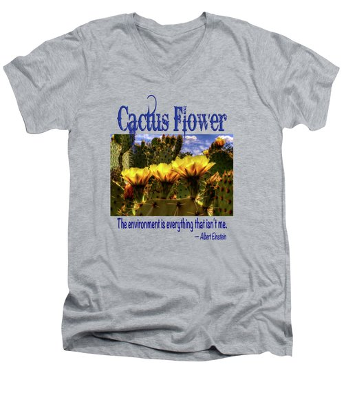 Prickly Pear Cactus Flowers Men's V-Neck T-Shirt by Roger Passman