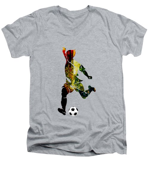 Soccer Collection Men's V-Neck T-Shirt by Marvin Blaine