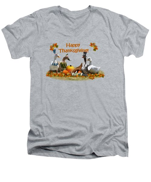 Thanksgiving Ducks Men's V-Neck T-Shirt by Gravityx9 Designs