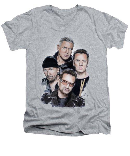 U2 Men's V-Neck T-Shirt by Melanie D