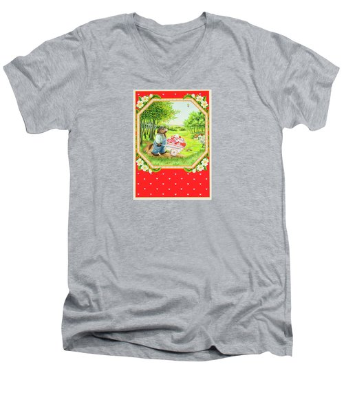 Valentine Delivery Men's V-Neck T-Shirt by Lynn Bywaters