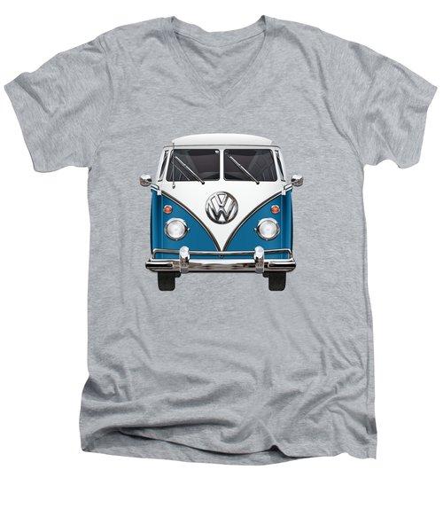 Volkswagen Type 2 - Blue And White Volkswagen T 1 Samba Bus Over Orange Canvas  Men's V-Neck T-Shirt by Serge Averbukh
