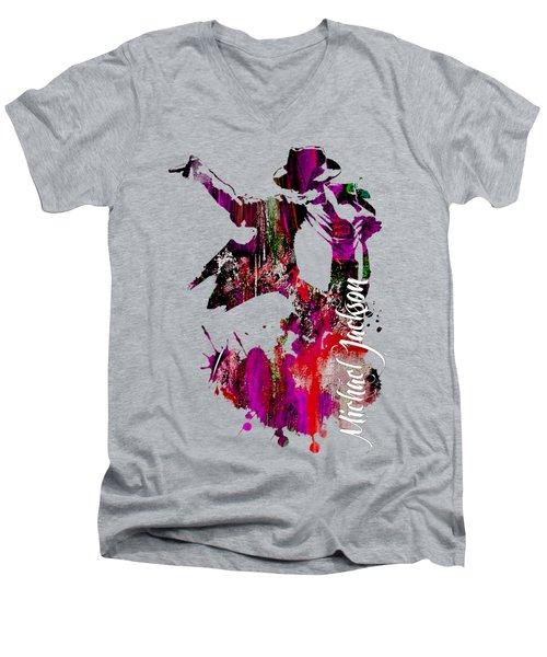 Michael Jackson Collection Men's V-Neck T-Shirt by Marvin Blaine