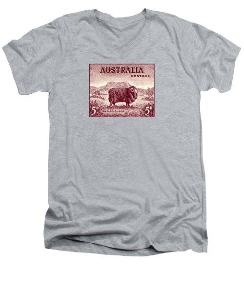 1946 Australian Merino Sheep Stamp Men's V-Neck T-Shirt by Historic Image