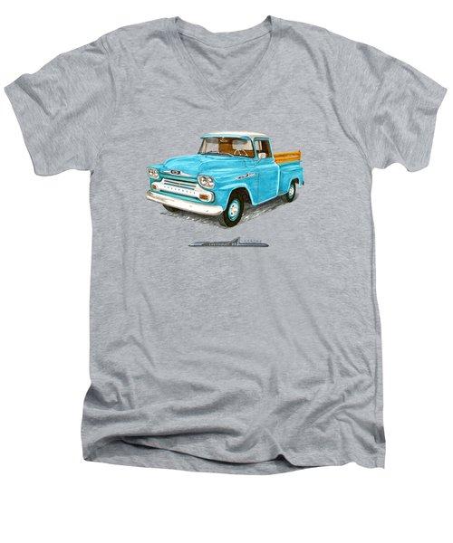 1958 Chevrolet Apache Pick Up Men's V-Neck T-Shirt by Jack Pumphrey