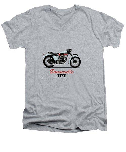 1959 T120 Bonneville Men's V-Neck T-Shirt by Mark Rogan