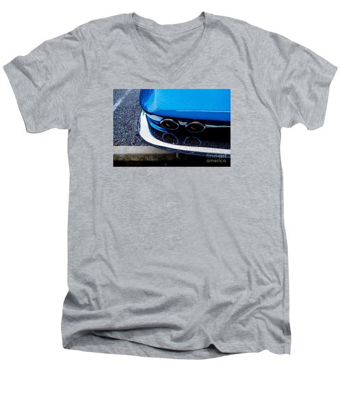 Men's V-Neck T-Shirt featuring the photograph 1965 Corvette Sting Ray by M G Whittingham