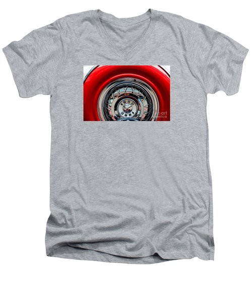 Men's V-Neck T-Shirt featuring the photograph 1958 Ford Crown Victoria Wheel by M G Whittingham