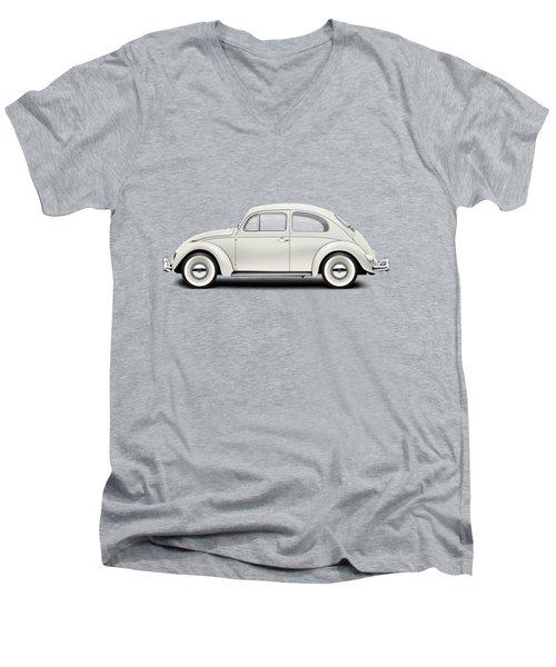 1961 Volkswagen Deluxe Sedan - Pearl White Men's V-Neck T-Shirt by Ed Jackson