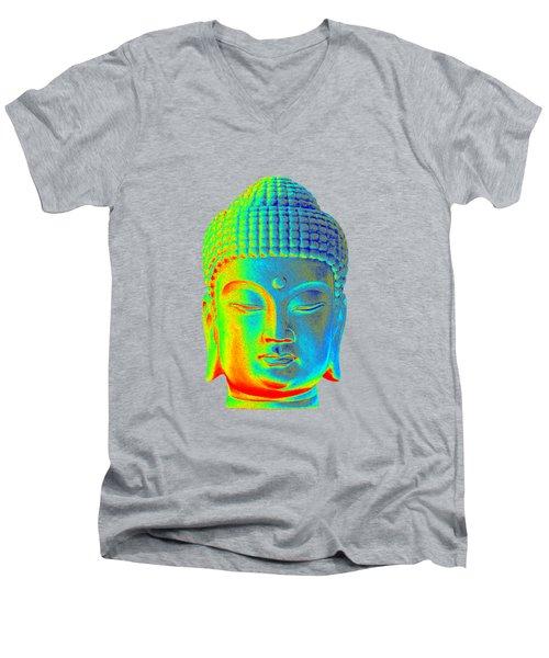 colorful Buddha - Korean Men's V-Neck T-Shirt by Terrell Kaucher