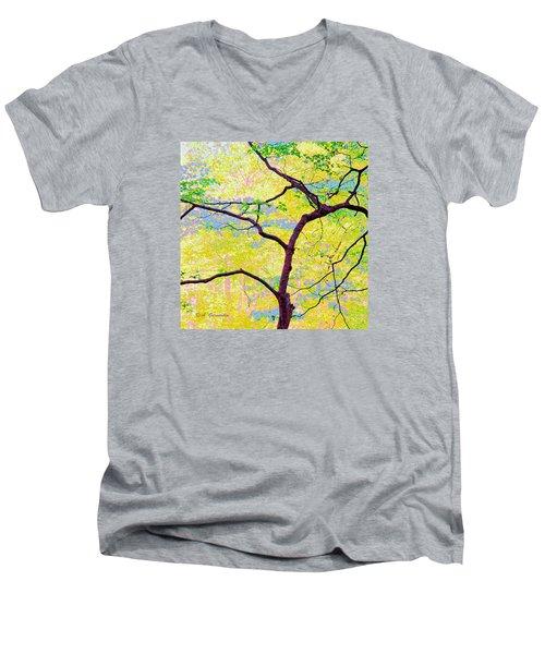 Men's V-Neck T-Shirt featuring the digital art Dogwood Tree In Spring by A Gurmankin