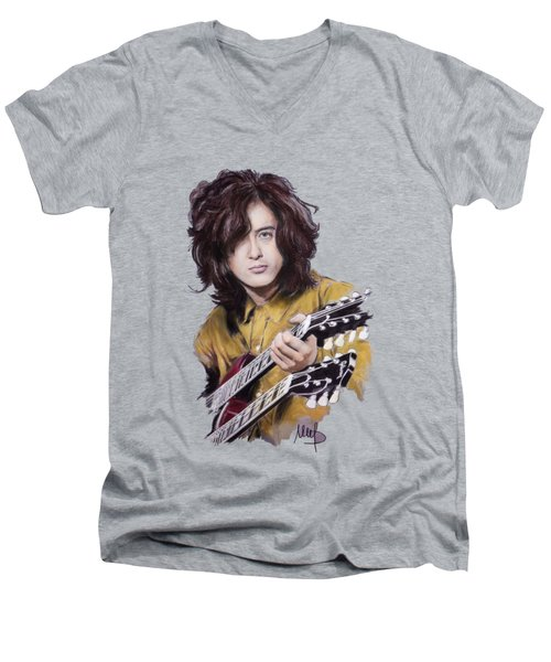 Jimmy Page Men's V-Neck T-Shirt by Melanie D