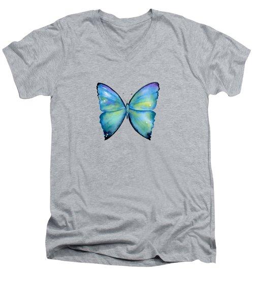 2 Morpho Aega Butterfly Men's V-Neck T-Shirt by Amy Kirkpatrick