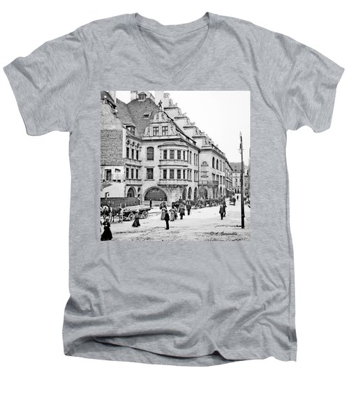 Men's V-Neck T-Shirt featuring the photograph Munich Germany Street Scene 1903 Vintage Photograph by A Gurmankin