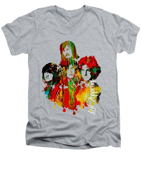Led Zeppelin Collection Men's V-Neck T-Shirt by Marvin Blaine