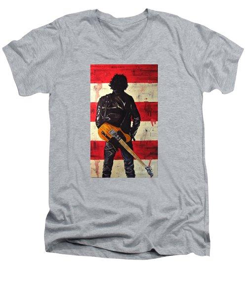 Bruce Springsteen Men's V-Neck T-Shirt by Francesca Agostini