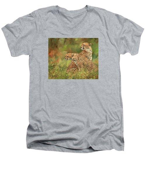 Cheetahs Men's V-Neck T-Shirt by David Stribbling