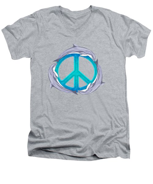 Dolphin Peace Men's V-Neck T-Shirt by Chris MacDonald